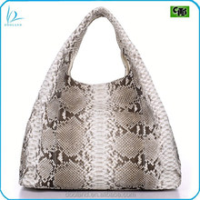 High quality exotic farmed animal real python skin handbag large hobo bag