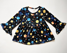 Popular kids trendy clothing children frocks designs long sleeve baby girl party dress
