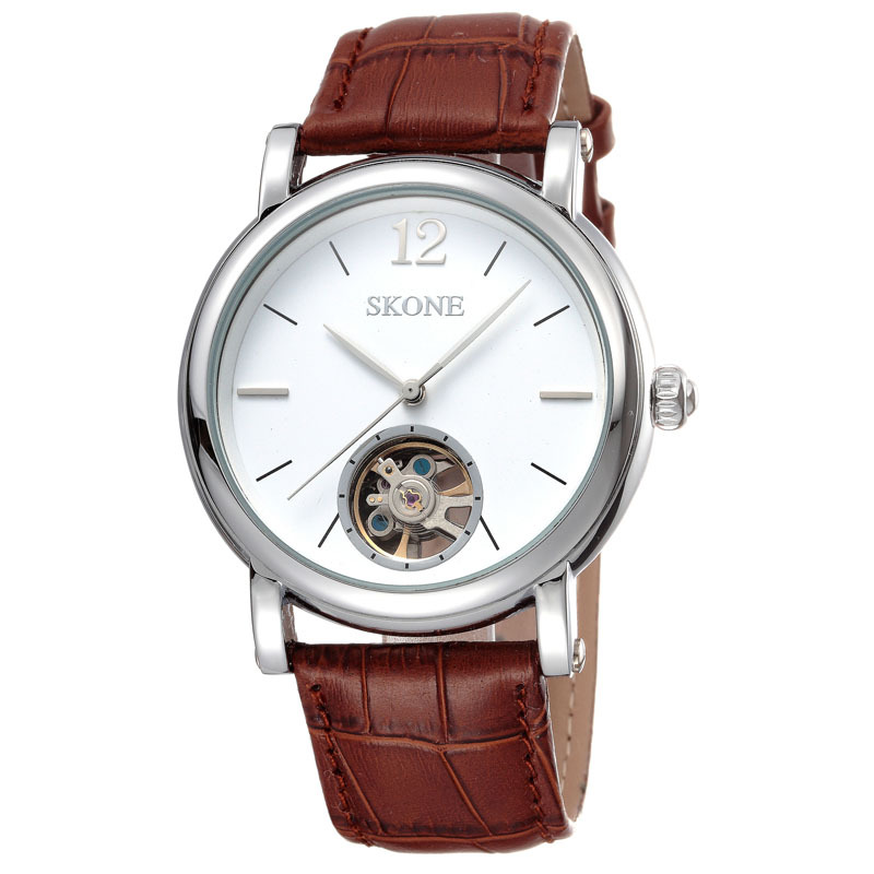 skone Genuine leather strap automatic mechanical watch men chinese tourbillon mechanical watch movement