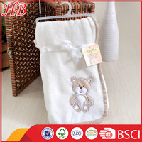 super soft embroidered bear coral fleece knee baby blanket