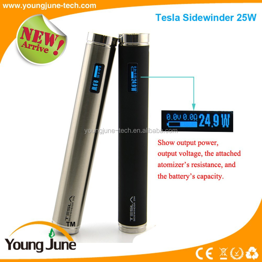 Electronic cigarette new model Tesla 25W Sidewinder battery 5W-25W 2015 new vape mod e-cig mod