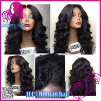 Fashionable virgin human hair lace front braided wigs color #1 Indian glueless human hair lace front wigs in stock