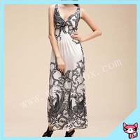 Fashion White Deep V Collar Summer Satin Dress