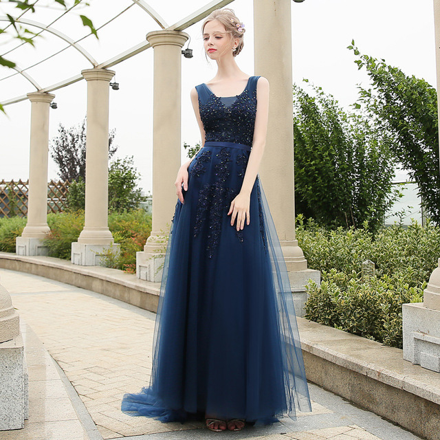 2018 Latest Elegant Lace Appliques Blue Tulle bridesmaids sister dress China Pink long Bridesmaid Dress