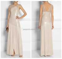 Sexy leather club wear sequins dress chiffon wedding dress bridesmaid dress