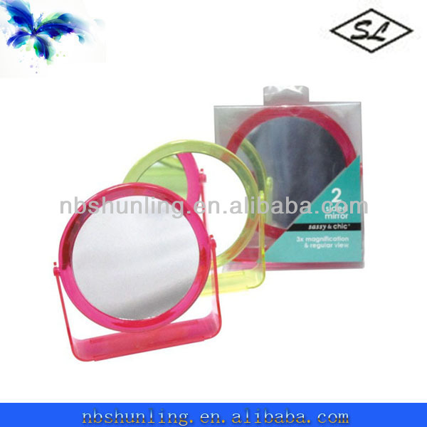 double side plastic fashionable cheap double cosmetic mirror