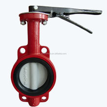 Lever Operated 16Bar CF8 Red FULL PTFE Seat Wafer Type butterfly valve