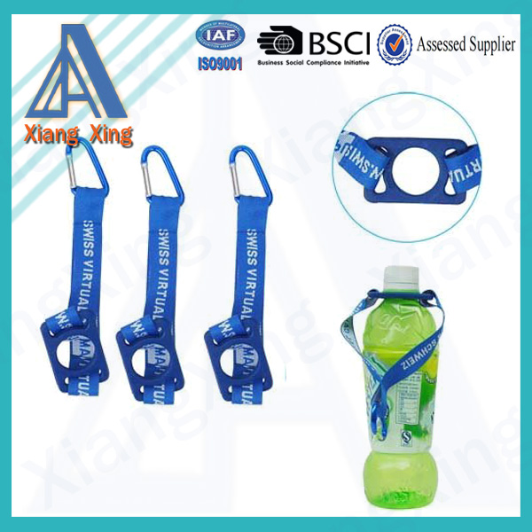 Textile polyester carabiner short lanyard short strap with water bottle holder