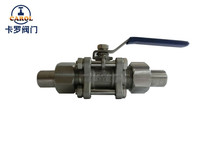 Stainless steel 3pc welded ball valve with conection pipe/Sanitary Valve