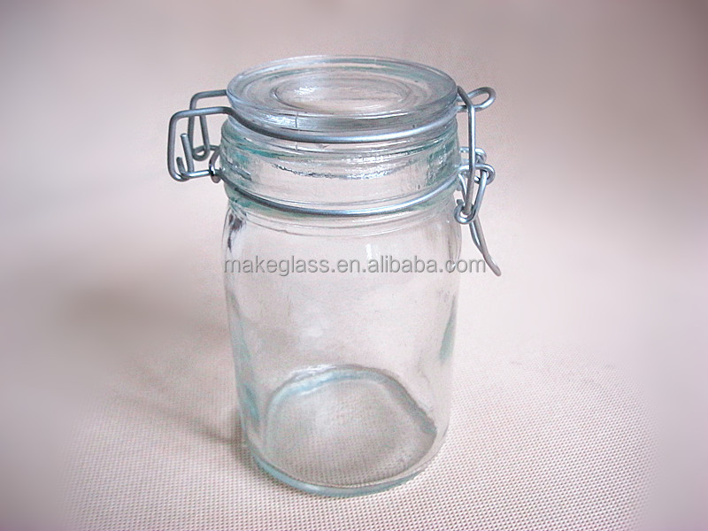 Round sealing glass storage jar with metal clip/Glass bottles/Glass jar
