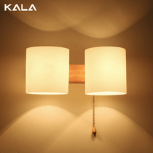 Simple design headboard glass wall lamp /lighting with ceramic lampholder wood wall light