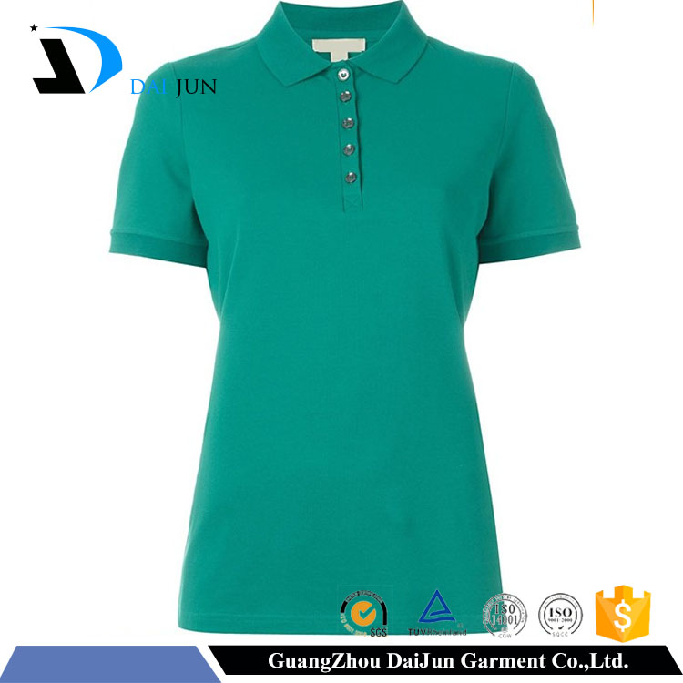Daijun oem fashion high quality short sleeves cheap 200g in plain breathable custom women's office uniform design polo shirt