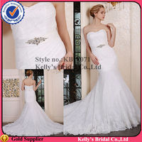 100% real photos off shoulder breathable beaded lace transparent balckless mermaid wedding dress with fishtail from china