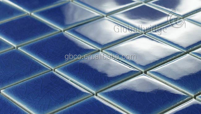 tile for swimming pool price glazed blue ceramic mosaic
