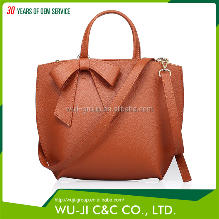 Professional Design Top Grain Women's Shoulder Tote Leather Bag with Bow