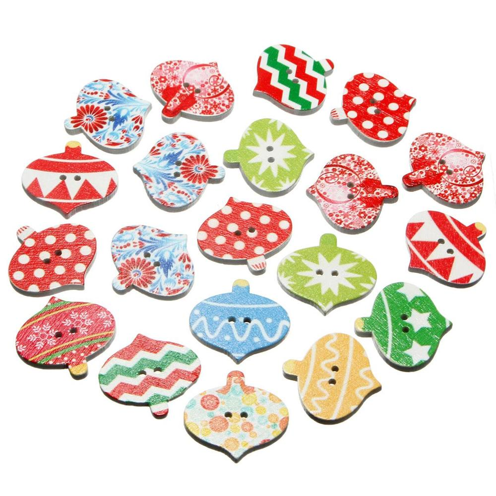 20pcs/set Ecellent Quality Beautiful Design Christmas Pattern Wooden Buttons Sewing Craft Clothing Accessories 2 Holes 25mm