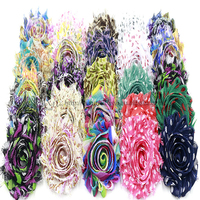 23 colors available 2.5 inch printed shabby chiffon fabric flowers for clothing, shoes and hats