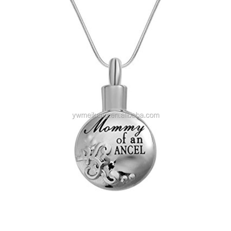 "Cremation Urn Necklace Engraved ""Mommy of an angel""Filigree Heart Memorial Keepsake Pendant Funnel Jewelry for Ash"