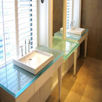 Modern Commercial Cheap Glass Prefab Bathroom Countertops