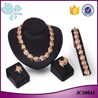 Kindy Jewelry four piece suit full metal zinc alloy 18k gold plating dulhan jewelry set