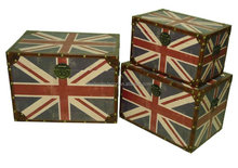 Antique English flag style PU/leather storage trunk /box packaging wooden box