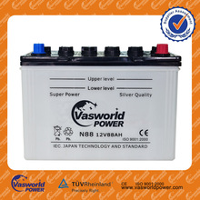 wholesale price N88 12v 88AH dry charged korean technology car battery for Africa market