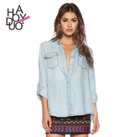 HAODUOYI Women Washed Denim Roll Sleeves Shirt Swallow Tail Lady Blouse for Wholesale