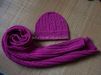 women winter knit hat and scarf set