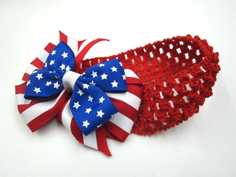 US National Flag Elastic Fabric Kids Headbands With Bowknot