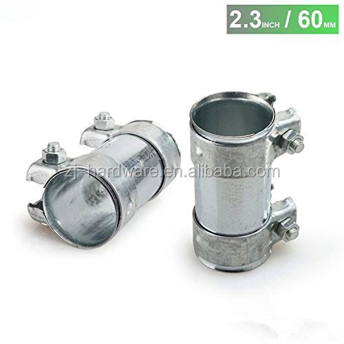 60mm 2.3inch exhaust pipe connector heavy duty sleeve double clamp tube adapter joiner sliver