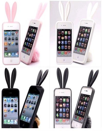 2011 popular rabbit silicone cover for iphone4