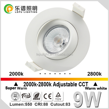 Ra92 2000-2800k CCT led downlight IP44 actec driver cutout83mm