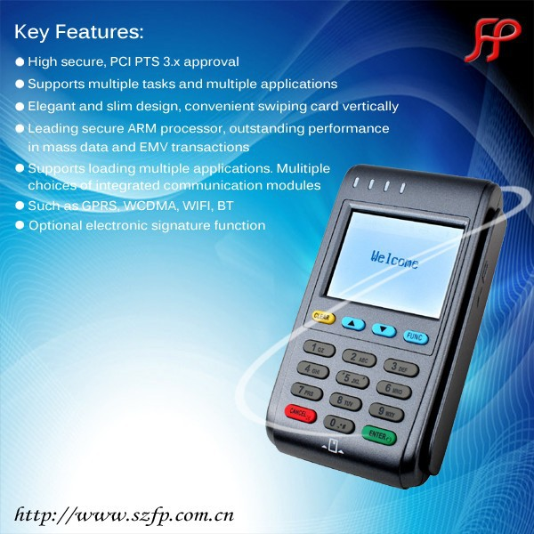 Pinpad smart card reader with GPRS/GSM, certifications of EMV PCI