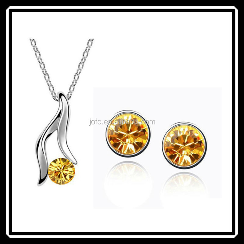 Latest Model Small Gold Crystal Jewelry Set For Ladies Brand New Imitation Jewellery HGJ0026