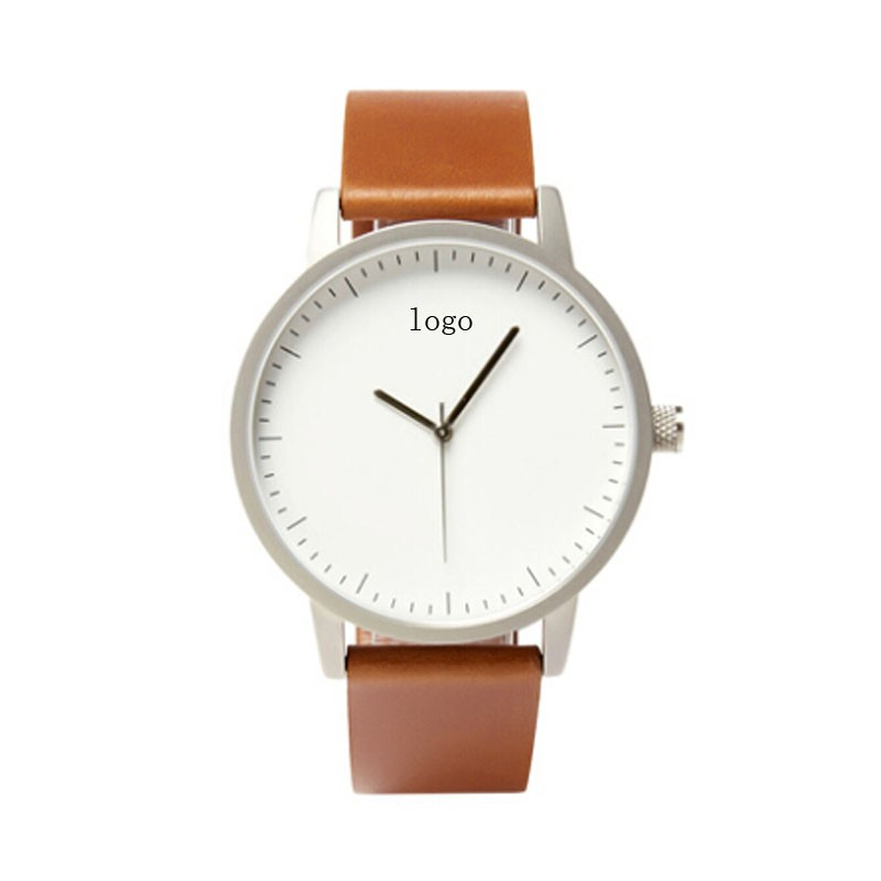 Mens watch high quality stainless steel custom logo leather strap