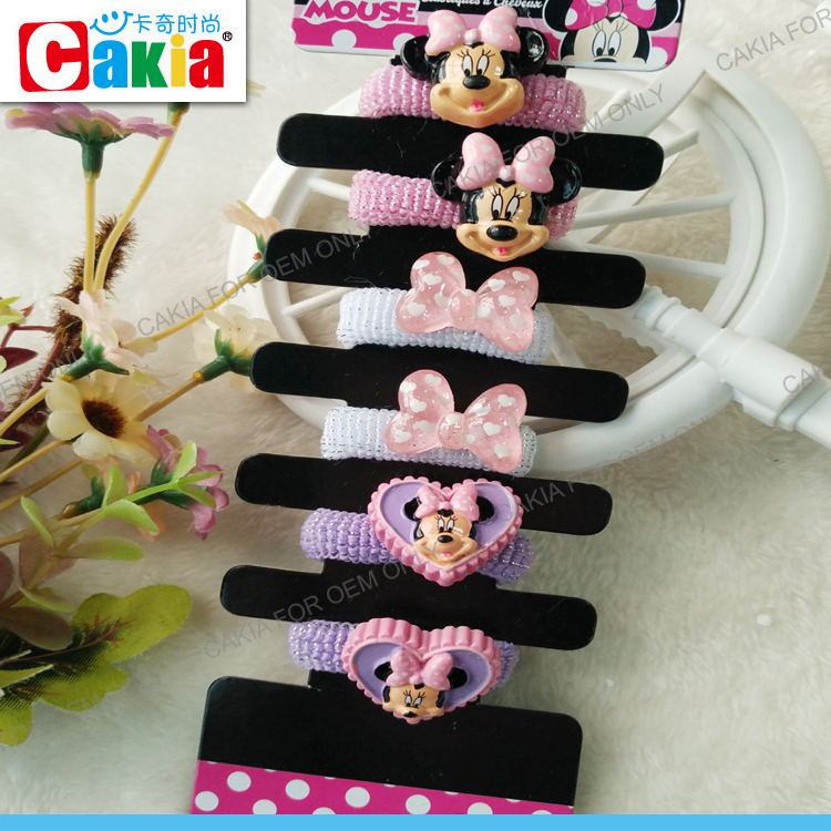 Wholesale glitter silver ribbon latex free candy color hair elastics for children