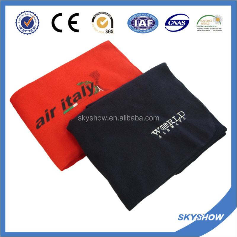 100% Polyester Super Soft Printing Travel Custom Disposable Airline Blanket