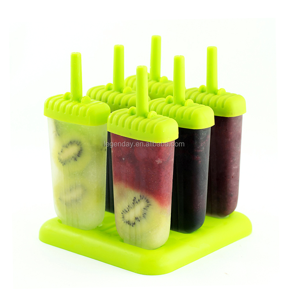 Hot Selling Set of 6 Silicone Popsicle Mold with Tray
