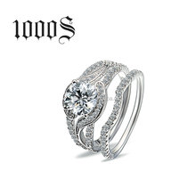 Luxury Style Sterling Silver Engagement Ring, Diamond Imitation Solid Silver Band Ring Set Wholesale
