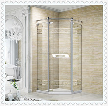 Custom Made Stainless steel wetroom Tempered glass Diamond shape Pivot Shower Screen Enclosure