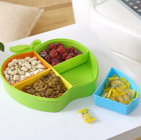 apple shaped plastic storage box with dividers