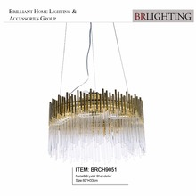 Unique design clear brass metal glass chandelier light pendant lamp with glass rod for home hotel