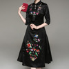Embroidered floral mid sleeve cheongsam traditional chinese dress bridal dress qipao
