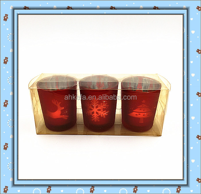 Christmas deer , snow ,tree design red glass tea light candle holder