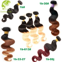 USA Hot Wet and Wavy Ombre Brazilian Hair Weave Body Wave Ombre Hair Extension Virgin wet and wavy ombre colored indian