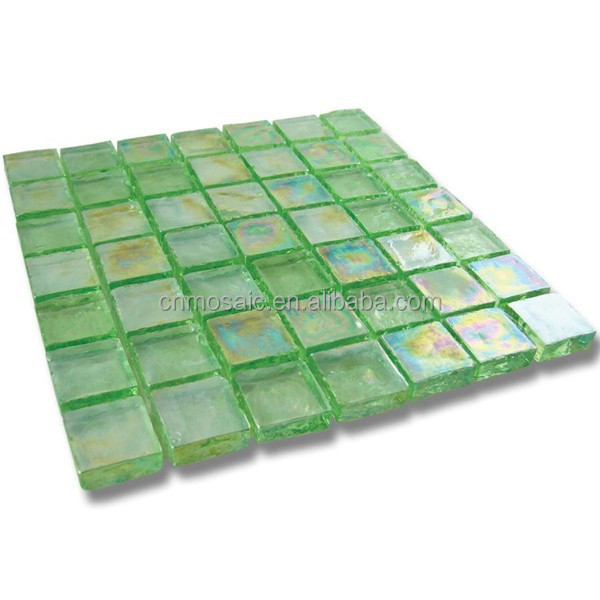 Iridescent green and yellow glass mosaic tile