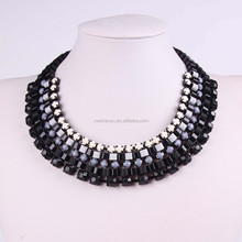 2015 latest designs acrylic beads artificial ribbon chain collar necklace
