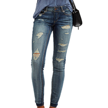 Wholesale Custom Washed Skinny Women Jeans Trousers Destroyed Slim Fit Denim Jeans 2017