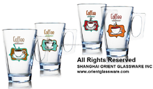 6oz 8oz 10oz 12oz Caffe Latte Espresso Cappuccino color printing glass coffee mug coffee glass set