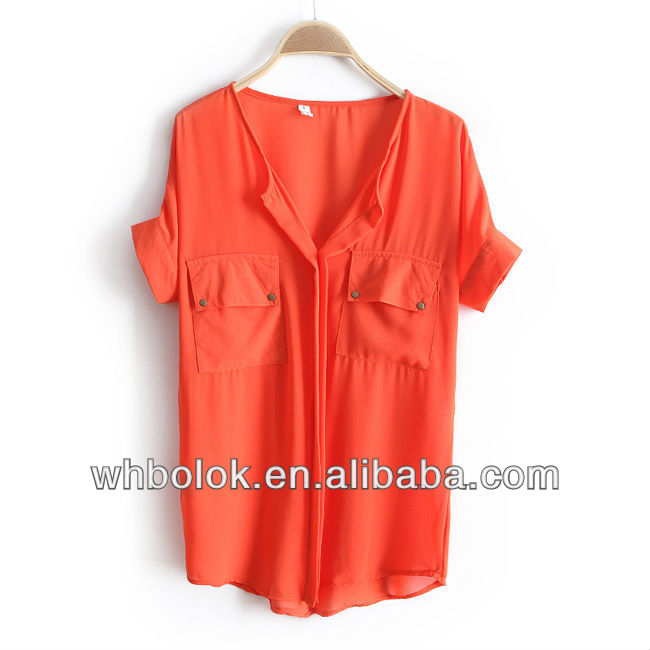 Fashionable chiffon woman blouse 2 chest pockets short sleeves summer shirt